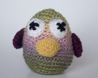 Crocheted Baby Bird - Fun Pastel Multi Colored, Amigurumi Stuffed Animal Bird Chick - Perfect for Babies and Toddlers - Fun Stocking Stuffer