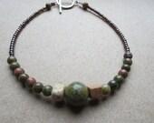 Unakite Gemstone Bead Bracelet, Unakite Stone Bracelet, Unakite Bracelet, Handmade Designer Bracelet, Ships worldwide from Scotland, U.K.