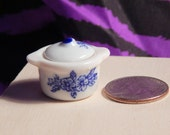 Dollhouse Glass Cookpot  - Doll House Blue White Soup Pot 1/12th Scale