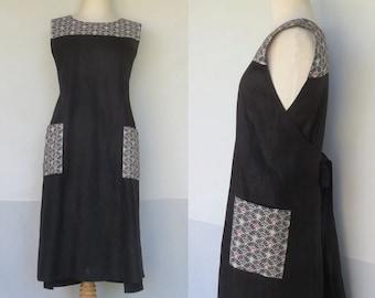 Wrap dress, Traditional Japanese, Linen Clothing,  Handmade, Pinafore, Jumper, Black linen, Apron, Maternity dress.