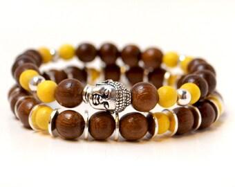 Buddha Bracelet Set, Silver Bracelets, Buddhist Bracelet, Silver Buddha, Wood Bracelet, Bracelets for Women