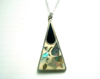 Alpaca Silver Pendant Necklace From Mexico Enamel & Abalone Inlay Silver 925 Chain 18 Inches