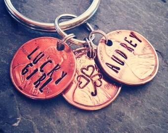 Lucky Girl penny key ring