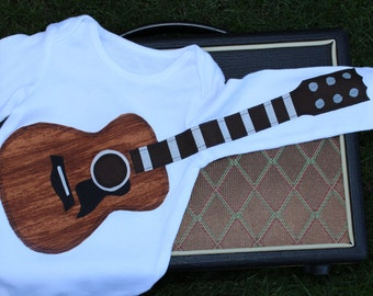 Mahogany Guitar Outfit / Guitar Bodysuit / Baby Clothes / Musical Gift / Delightfully Fun Guitar Outfit / Baby Shower Gift / Music Bodysuit