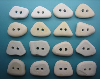 BEACH SEA POTTERY 18mm Buttons White 16 All Natural Real Surf Tumbled Unenhanced Ceramic Shards Button Sewing Knitting Supplies Bp 75d