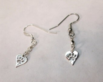 Sterling Silver Heart Pawprint Dangle Earrings