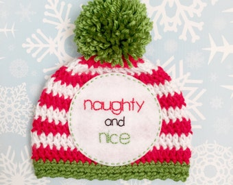 "Christmas newborn ""NAUGHTY and NICE"" hat, newborn photo prop, funny baby prop, first Christmas"