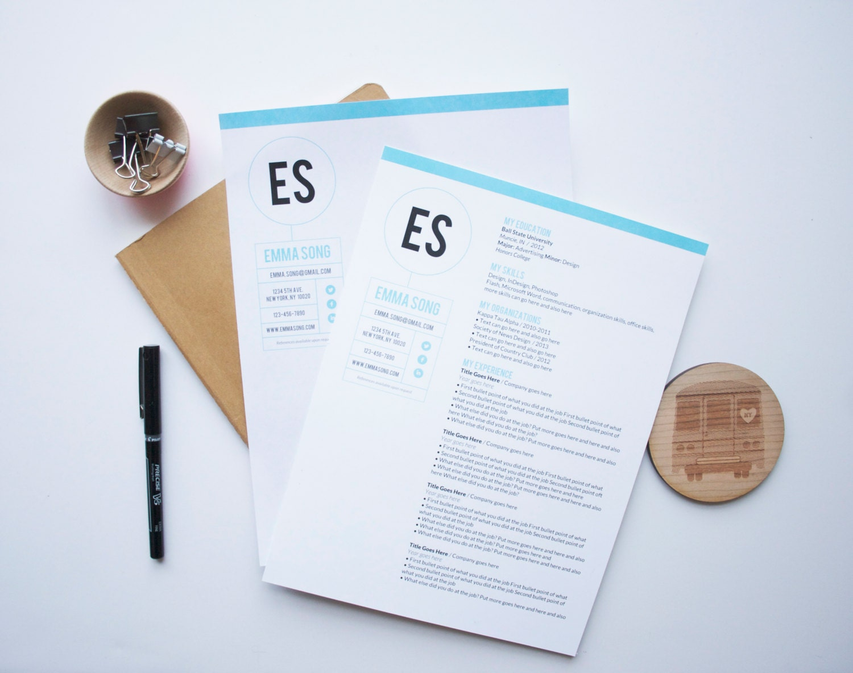 instant download resume  u0026 letterhead template    the emma