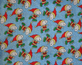32 x 43 Inches Blue Snoopy Skating Winter Cotton Fabric