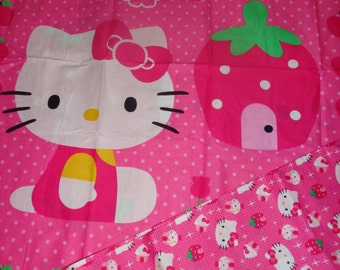 2 Yards Pink Hello Kitty Strawberry Fabric/Panel and Contrasting Fabric