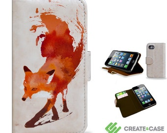 "iPhone 4/4s & iPhone 5/5s ""Vulpes"" unique vegan leather wallet style case with credit card slots"