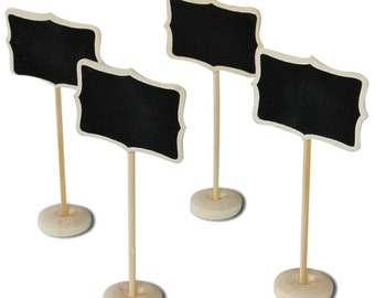 10 Chalkboard Stands, Wood Stand,. Table Numbers, Gift Tags, Favor Tags, Name Tags, Chalkboard tags