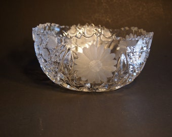 Heavy Cut Crystal Bowl with Sawtooth Edge