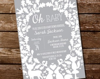 Gray and White Woodland Baby Shower Invitation for Boy or Girl - Instant Download and Editable File - Personalize at home with Adobe Reader