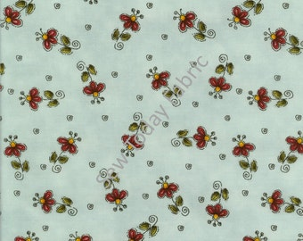 Tossed Flowers on Blue - Why? Collection by Leanne Anderson - Henry Glass 8215-11 (sold by the 1/2 yard)