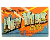 Vintage New York City Iconic Font Postcard - Awesome Message on Back