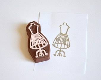 Hand Carved Rubber Stamp / Sewing Mannequin