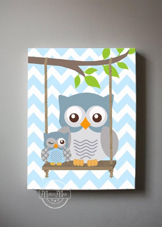 Owl Baby Bedroom Decor: Owl Nursery Decor Canvas Wall Art OWL Canvas Art Baby