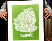 "Charlotte, North Carolina Neighborhoods Screen Print Map Art (18""x12"")"