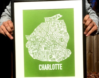 "Charlotte, North Carolina Neighborhoods Screen Print Map Art (19""x12.5"")"