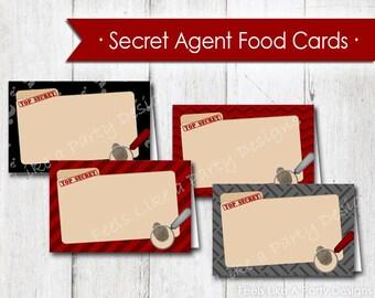 Secret Agent Food Cards - Instant Download