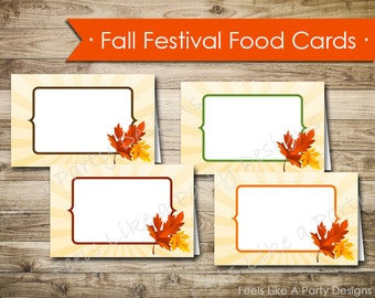 Fall Festival Food Cards - Instant Download