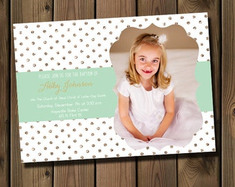LDS Baptism Invitation With Photo - Gold and Mint, Printable _1235