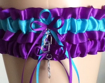 Purple and Turquoise Wedding Garter Set, Bridal Garter Sets, Prom Garter, Keepsake Garter, Bridal Accessories