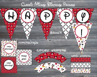 Simple Mickey Mouse Birthday Package - Instant Download