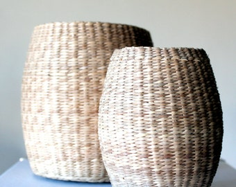 set of storage -baskets for the home- home living - straw baskets- African style- rustic home- brown home decor