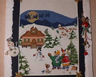 Noel night - point counted handmade embroidery