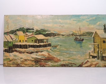 Original Oil Painting Nautical Harbor Scene Vintage Mid Century Impressionistic Artist Signed Original New England Art