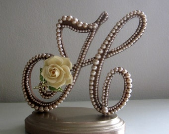 gold h wedding cake topper monogrammed ooak vintage wedding cake topper amp by 14786
