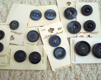 Assortment of Large Dark Blue Vintage Buttons on Cards, Total of 16 Buttons