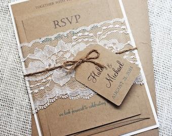 Rustic Wedding Invitation, Lace Wedding Invitation, Shabby Chic Wedding Invitation Sample