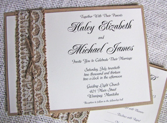 Cheap Shabby Chic Wedding Invitations: Items Similar To Rustic Lace Wedding Invitation, Burlap