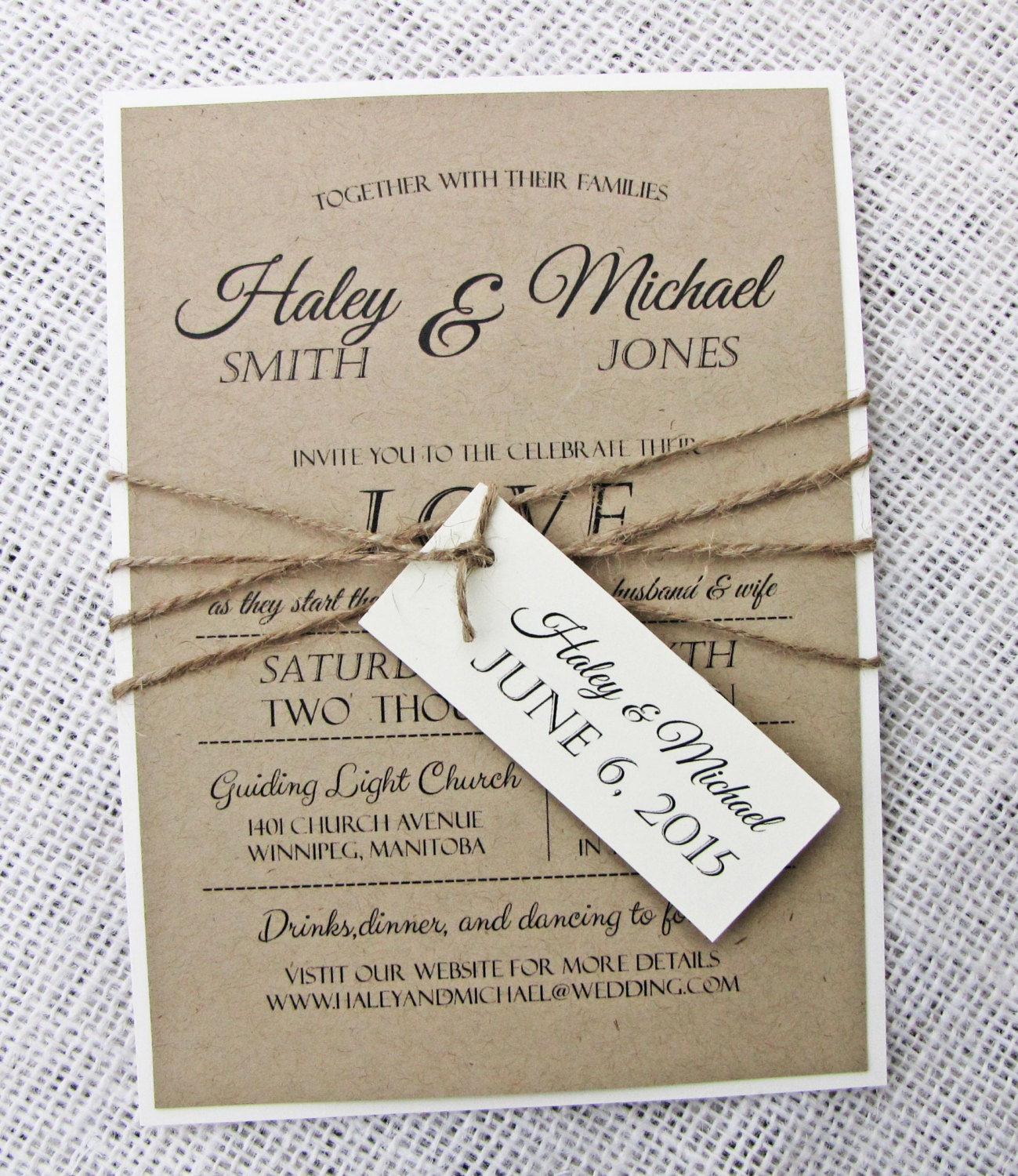 Rustic Wedding Invitation Modern Wedding Invitation Kraft