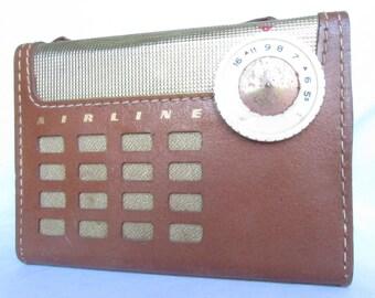 Airline Personal Portable Radio,  Mid Century Radio, Retro Radio, Photo Prop Radio