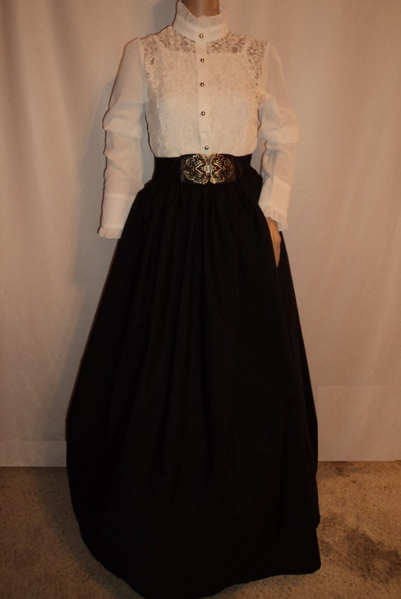 Victorian Skirts | Bustle, Walking, Edwardian Skirts Dickens Festival Long Black Skirt with Belt or Sash Victorian Renaissance  Fair Civil War CostumeDickens Festival Long Black Skirt with Belt or Sash Victorian Renaissance  Fair Civil War Costume $32.00 AT vintagedancer.com
