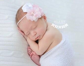 Pink and White Flower Headband, Baby Headbands, Pink Headbands, Shabby Chic Headbands, Photography Prop