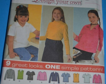 SImplicity 9362 Childs and Girls Knit Tops Sewing Pattern - UNCUT - Size 7 8 10 12 14