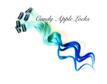 Mermaid, Hair Extensions, Clip in Human Hair, Dip Dye, Rainbow Ombre, Pastel Streaks, Blue Dip Dye Turquoise