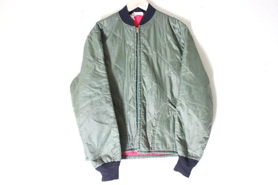 olive green quilted bomber jacket medium mens bomber by LSBMARKET