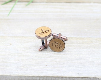 I Do, Me Too Wedding Copper Vintage Cufflinks - Groom gift Idea - Wedding Present - Unique gift - Groom Cuff Links - I Do - Quirky gift