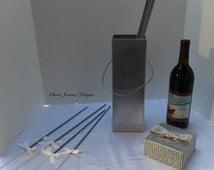 Silver Wine Box Holder Sparkler Box Groomsmen Gift Favor Box Gift Box