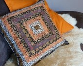 Cotton Batik Pillow Cover Handmade Decorative Pillow Patchwork Accent Cusion Cover Tribal