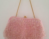 Rare Pretty in pink glamorous vintage purse with sequins and beads
