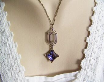 Heliotrope Cut Glass Necklace, Art Deco Necklace, Bronze Filigree Cup, Heliotrope Crystal, Filigree Set Gem, Square Glass Heliotrope