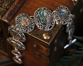Enchanting Abalone Bracelet with Gorgeous Floral Filigree