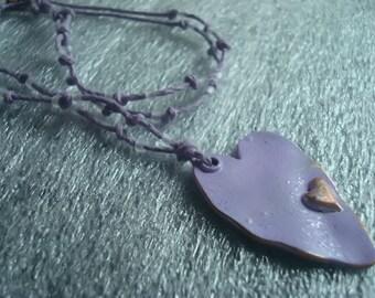Purple heart hemp necklace, hemp necklace, knotted necklace, heart necklace